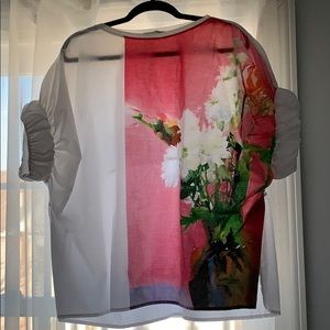 Zara Basic Kimono Shirt with flower print